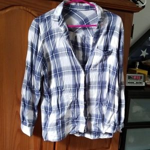 Blue and white button down flannel shirt